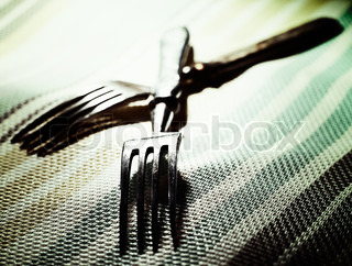 Pair Abstract kitchen still life with two fork