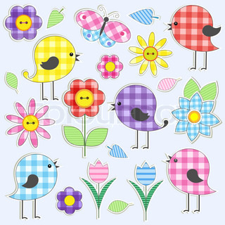 Textile stickers vector colourbox for Stickers infantiles