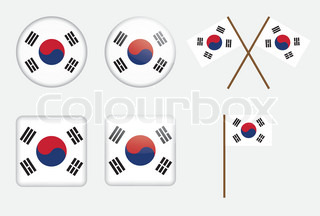 set of badges with flag of South Korea vector illustration