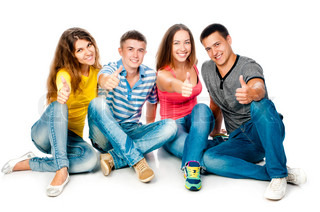 group of young people with thumbs up