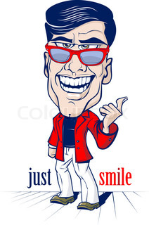 cartoon smile office man with the sunglasses