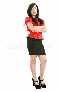 Full length of pretty young business woman on white background