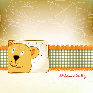 baby announcement card with cute bear
