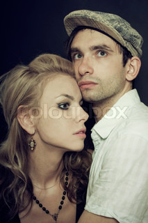portrait of a man and woman embracing