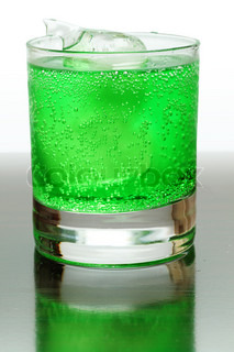 Green fizzy drink with ice cubes