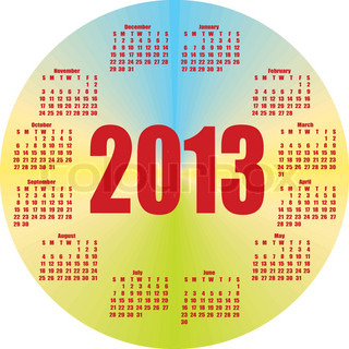 round colorful calendar 2013in vector