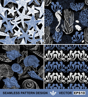 Underwater abstract backgrounds set, sea theme fashion seamless patterns, beautiful vector wallpapers, exotic fabrics, wrapping with seahorses, shells, starfish and corals ornaments for design