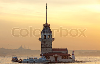 Famous Maiden's Tower at sunset Bosporus sea channel, Istanbul, Turkey