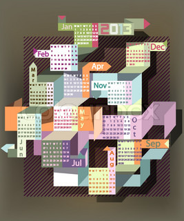 Calendar 2013 with abstract  rectangular shapes.