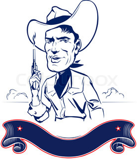 cowboy man portrait with gun and ribbon