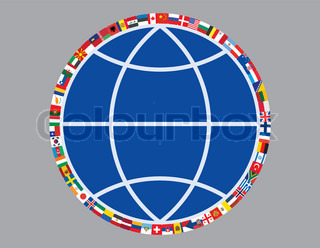 flags around sign of globe vector illustration