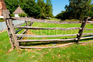 Ancient wooden fence on the farm