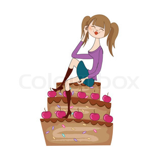 sexy young woman sitting on a big cake