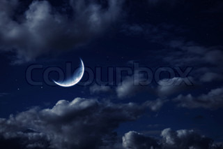 moon in the night cloudy sky with stars