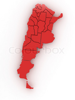 Three-dimensional map of Argentina 3d