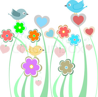 background with cute birds and flowers