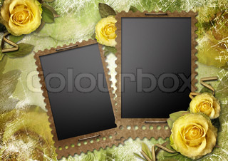 Old paper frames with a rose on the vintage background