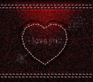 Jeans heart red denim texture
