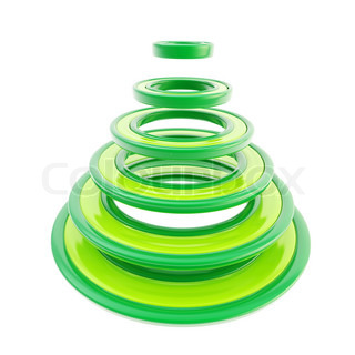 Abstract futuristic green christmas tree isolated