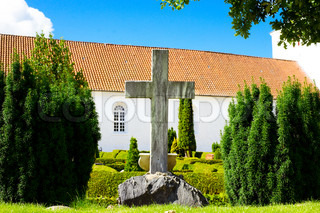 Cemetery in front of a church