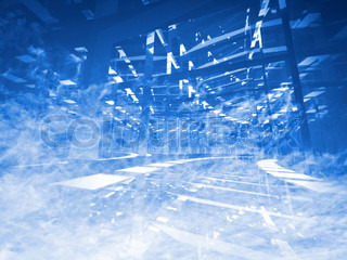 Abstract background: turning blue tunnel of lights and reflections in the blue sky