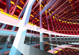 Abstract geometric colorful background pattern of turning futuristic tunnel with lights and reflections 3d render illustration