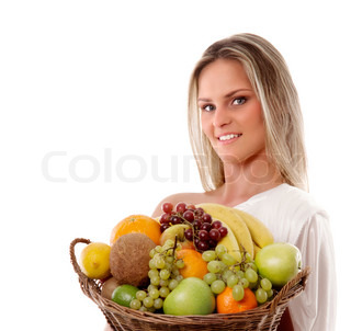 Attractive woman with a basket full of fruits