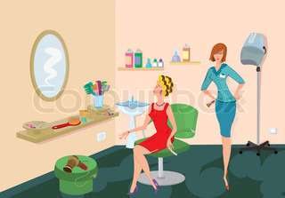 Beauty salon client in red dress is looking in the mirror