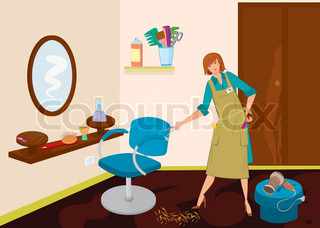 Beauty salon hairdresser with scissors near the chair