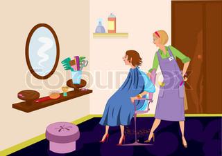 Beauty salon brunet looking in the mirror after hair cut