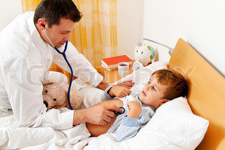 doctor house call examines sick child