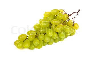Bunch of Green Grapes laying isolated