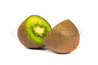 Kiwi cut in half isolated on white
