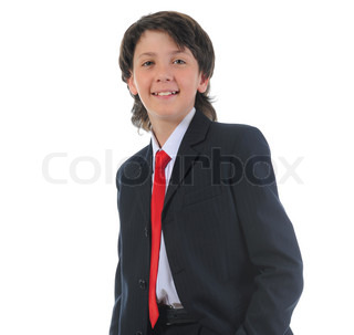 portrait of a boy businessman in a business suit