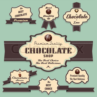 Chocolate labels and badges retro and vintage style collection