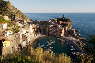 The Italian fishing village of Vernazza located withing the national park of Cinque Terre on the cost of Italy