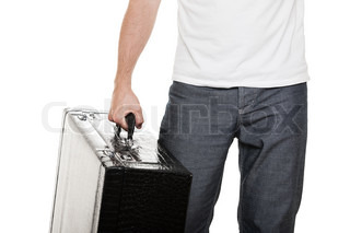 Man holding suitcase in hand
