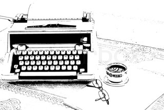 A sketch of typewriter, glasses and a cup of coffee on the table - Stock Image