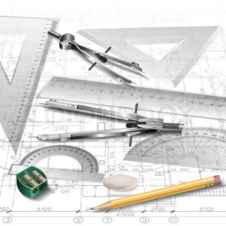 architectural background with drawing tools and technical
