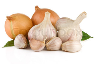 set of garlic and onion isolated on white