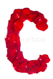 Letter C made from red petals rose on white
