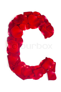 Letter G made from red petals rose on white