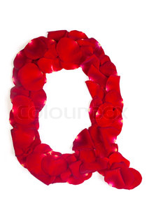 Letter Q made from red petals rose on white