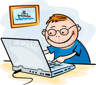 Funny boy playing on computer