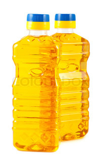 Pair of plastic bottles with vegetable oil