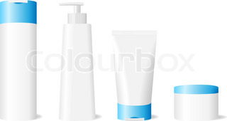 Vector illustration of blank skin care set isolated on white background.