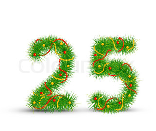 Vector Christmas numbers 2,5the green spruce garlands and necklaces