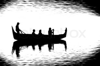 small boat is floating with the people, black and white image