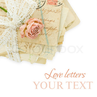 Background with rose and old greeting cards -love concept
