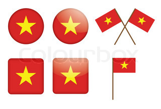 set of badges with Vietnam flag vector illustration